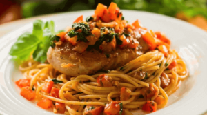 Espaguetis con pollo guisado