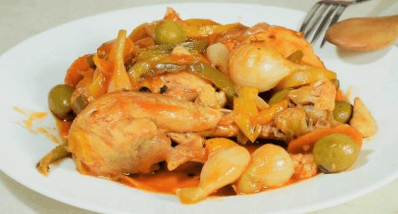 Escabeche de pollo con verduras