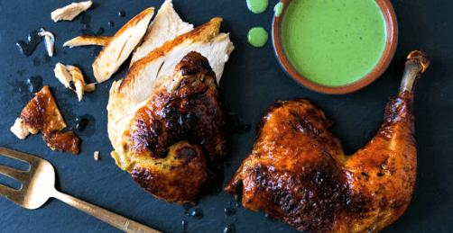 Piernas y muslos de pollo en salsa verde
