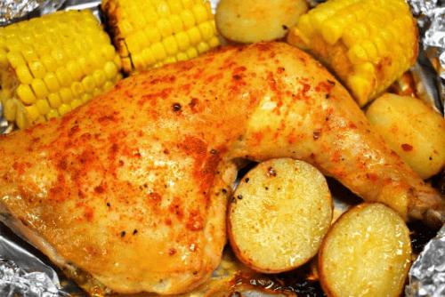 Muslos de pollo en papel aluminio al horno